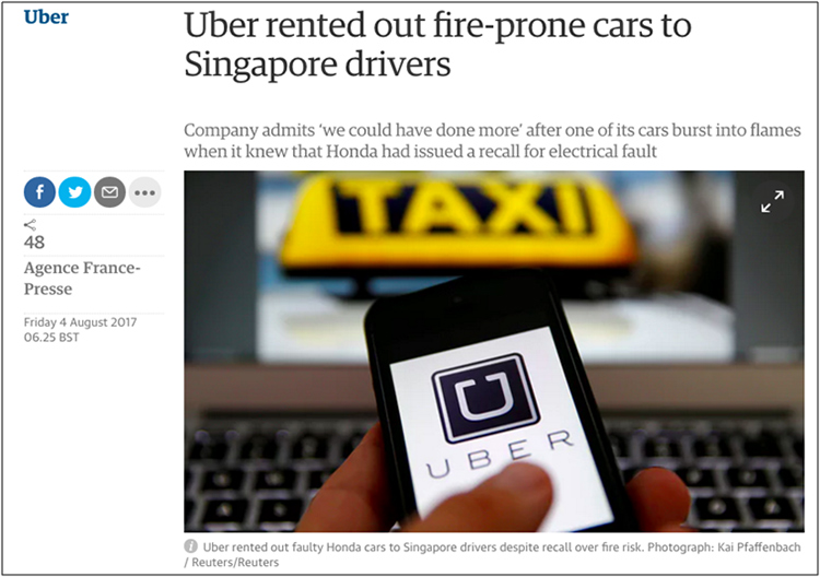 Uber rented out fire-prone cars to Singapore drivers